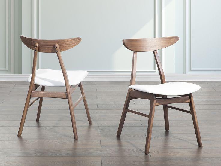 Stoel wit, eetkamerstoel, houten stoel, lederen stoel, LYNN