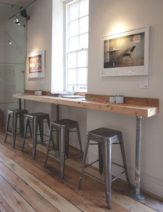 Wood coffee bar, simple stools