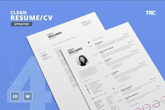 Clean Resume/Cv Template Volume 4 by TheResumeCreator on @creativemarket