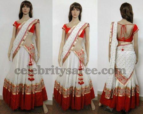 White Half Saree by Varuna Jithesh | Saree Blouse Patterns