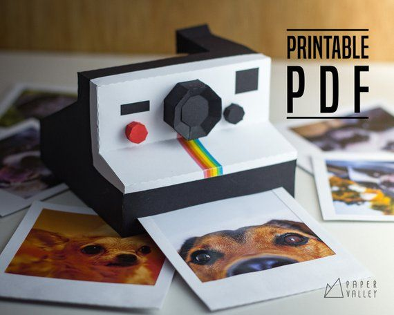 Polaroid Papercraft Diy Printable Template Pdf Vintage Camera