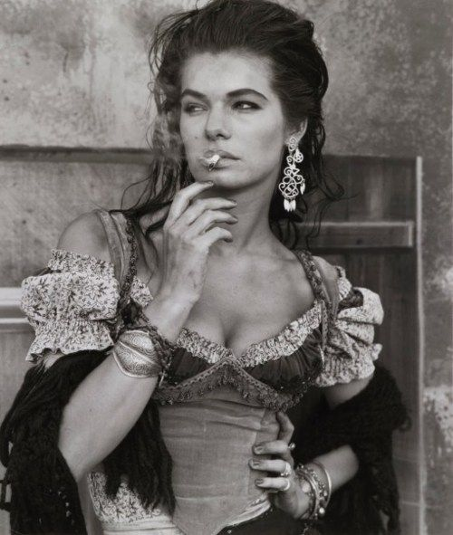 "Herb Ritts photograph... Gitanes, 1989 - 1990...#bohemian style and ""attitude."""