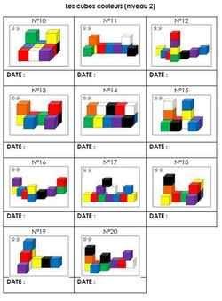 Fiche de suivi des cubes couleurs niveau 2 GS