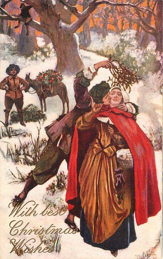 """Sir Amédée Forestier (1854-1930)  — Old Christmas Card """"Kiss under the Mistletoe', 1906  (567x900):"""