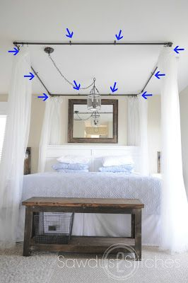 Take It From Me: Sawdust2Stitches DIY Canopy Bed Tutorial. I would love this. I have always wanted a canopy bed.