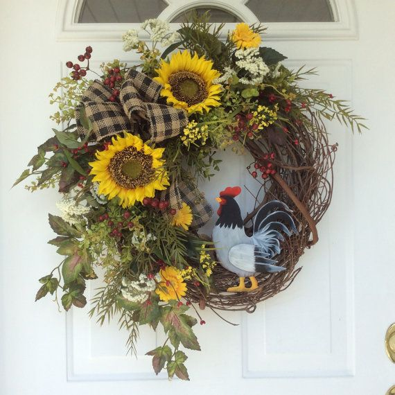 Summer Wreath-French Country Wreath-Sunflower Wreath-Spring Wreath-Rooster Decor-Rustic Wreath-Country Wreath-Cottage Chic-Kitchen Decor  A painted