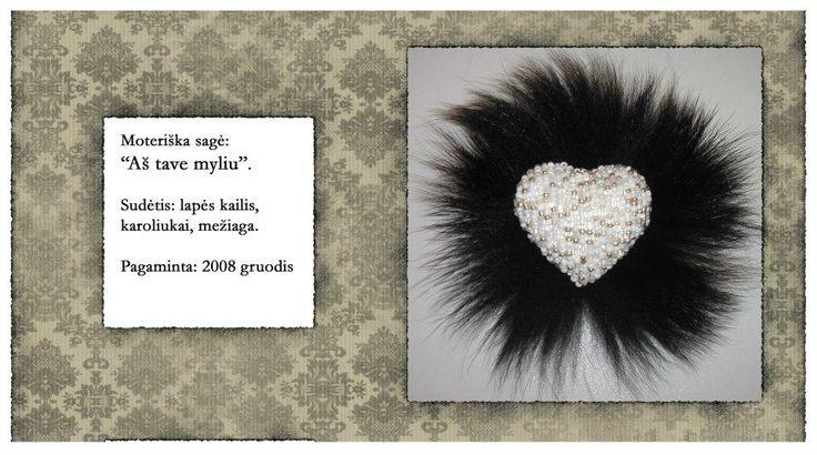 heart shape fur black white RebelSoulEK brooch