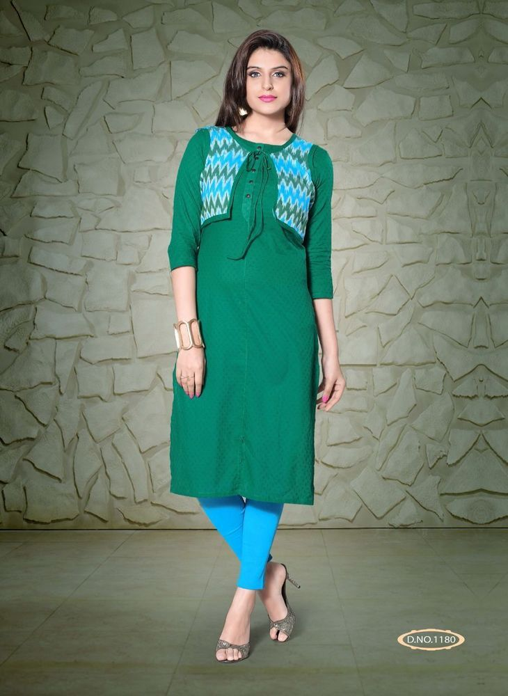 Festival special green cotton designer kurti kurtis with for Design scandinavo shop online
