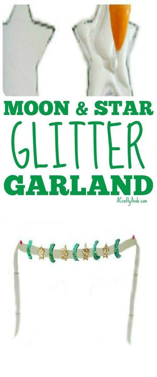 A Crafty Arab: Moon & Star Glitter Garland {Tutorial}. Today we finished the last step from our Ramadan crafts tutorial of moons and stars glittered garland we had made on Saturday to get ready for Eid.   Once the moons and stars had hardened, we simply glued them to the ribbon. They did such a great job of coming out nice and hard and … #MulticulturalArtsandCrafts