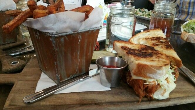 Cherry Coke Pulled Pork Sandwich  with sweet potatoes fried with cup of water in mason jar. Love the presentation.