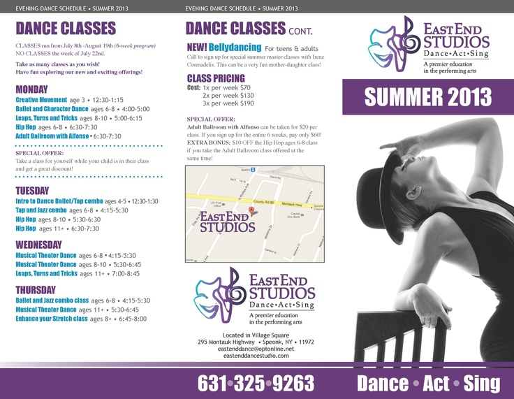 Summer brochure for East End Studios Makes you wanna dance - studio brochure
