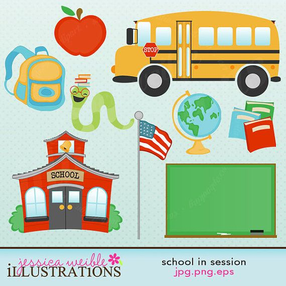 School in Session Cute Digital Clipart for Card Design, Scrapbooking, and Web Design