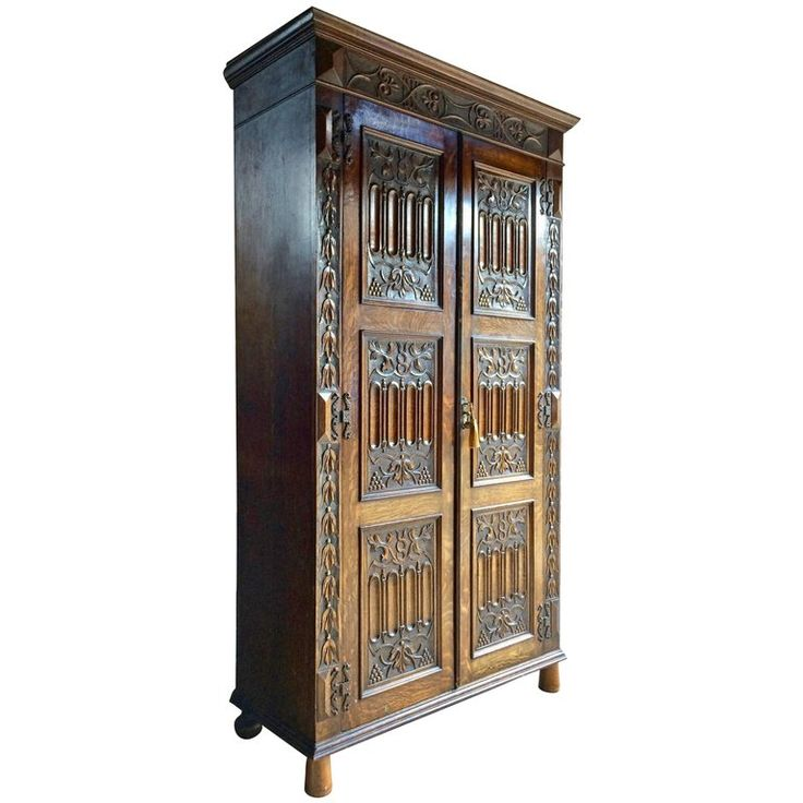 Antique Oak Wardrobe Hall Cupboard Gothic Heavily Carved, 19th Century 1