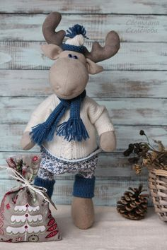 Купить Рома. Синеглазый Лось - лоси, новогодний декор, деревенский, синий, олень, рождественский