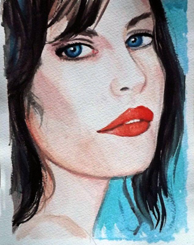 Acquerello ritratto ragazza donna dipinto a mano, by Ornella Di Scala, 18,00 € su misshobby.com