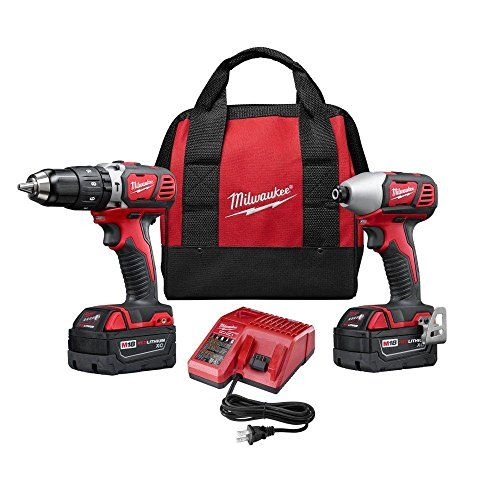 Milwaukee 2697-22 M18 18-Volt Lithium-Ion Cordless Hammer Drill/Impact Driver XC Combo Kit (2-Tool) *** You can find out more details at the link of the image.