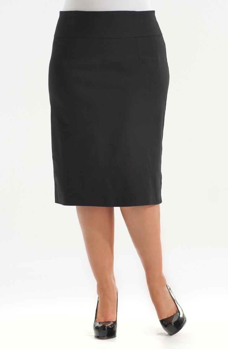 Pencil skirt./Black Style No: SK8033  Stretch bengaline pencil skirt with a wide waistband and a centre back split. #fashion #plussize #2013