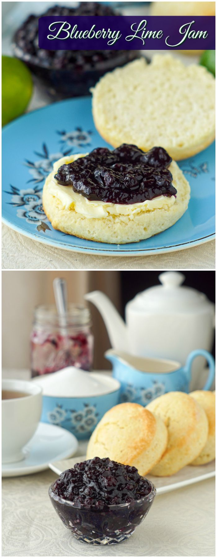 Newfoundland Blueberry Jam with lime, using low sugar pectin. Made with incredible Newfoundland wild blueberries. The hint of lime pairs beautifully with the berries and the low sugar recipe lets their natural flavour shine.