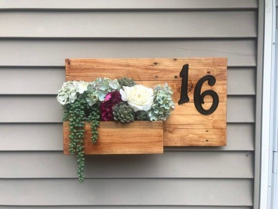Wooden Address Sign Planter Reclaimed Wood Housewarming Gift Wood Planter Hanging Planter Outdoor House Decor House Warming Gifts Rustic Beach Decor Wood Planters