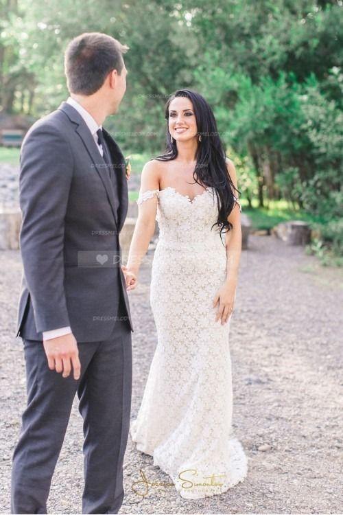 Elegant Lace Off Shoulder Backless Long Sheath Wedding Dress #wedding #wedding #weddingphotography #weddinghairstyles #weddinginvitations #weddinginvi...
