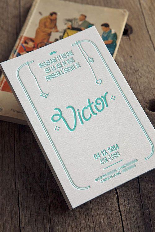 Faire-part de naissance 1 couleur sur papier 100% coton 700g // letterpress birth announcement in mint / design Komix