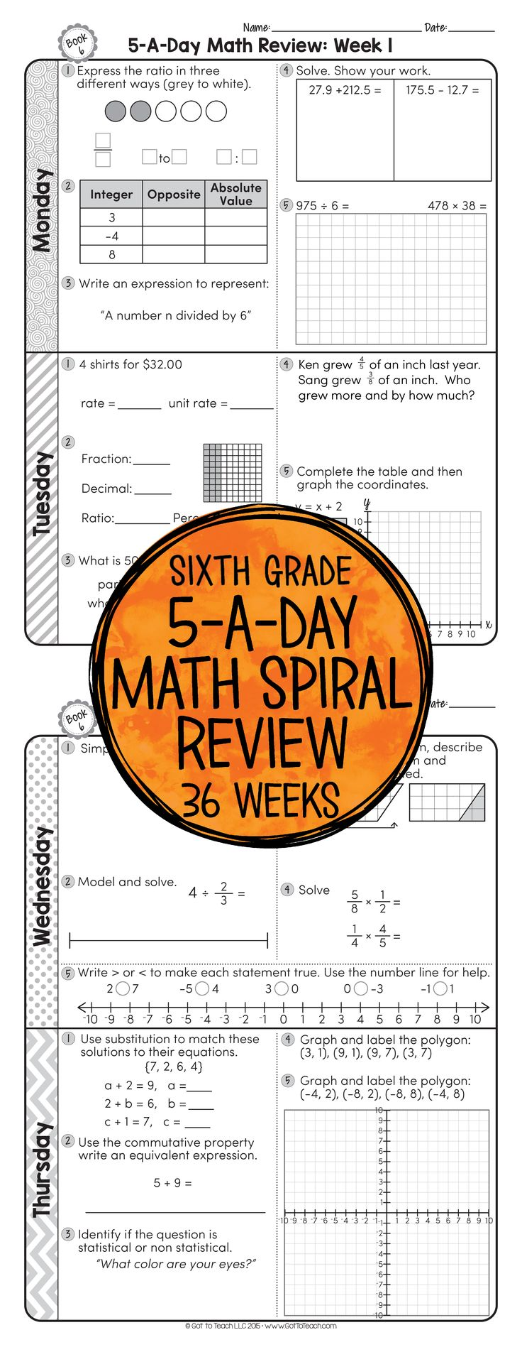 36 weeks of daily Common Core math review for sixth grade! Preview and Review important 6th grade math concepts all year long! Perfect for homework, morning work, or test prep! 5-A-Day: 6 tasks a day, M-Th. CCSS M.6 Available for 3rd - 6th grades! $