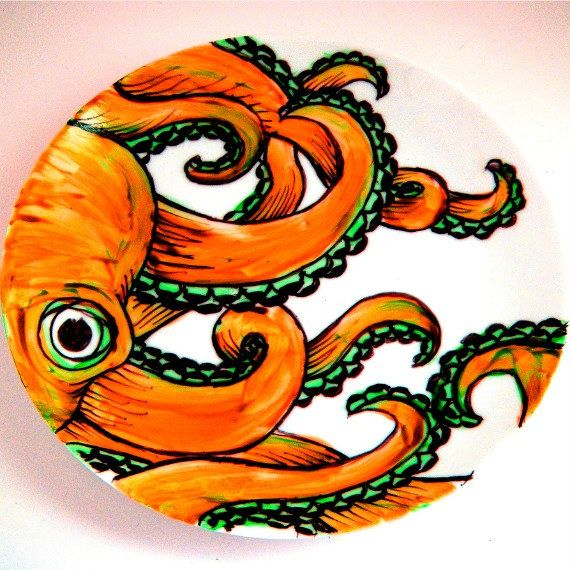 Ceramic Plate Orange Octopus Kraken Sea Creature Turquoise Nautical Decor Hand Painted Tentacles Wall Art Decorative  sc 1 st  Pinterest : painted ceramic plates - pezcame.com