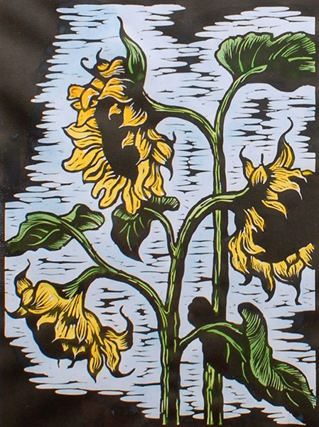 Gregoire Boonzaier (SA 1909 - 2005) Watercolour & Linocut, Sunflowers, Signed & Dated 1978