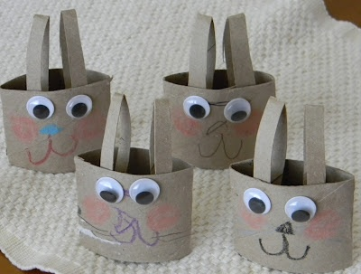 toilet paper tube bunnies with wiggly eyes