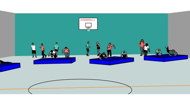 Kleines spiel staffellauf mattenrutschen spass laufen for Gimnasio 6 y 45