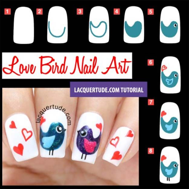 Best 25 bird nail art ideas on pinterest divergent nails 35 fabulous valentine nail art ideas prinsesfo Images