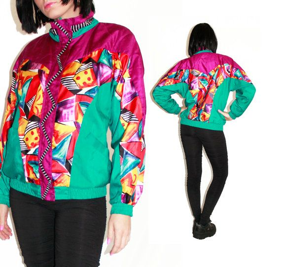 Colorful 90's Windbreaker Jacket Bright Abstract Print Batwing Nylon 90's Outerwear Athletic Wear Silky Jacket Hipster Hip Hop Size Medium