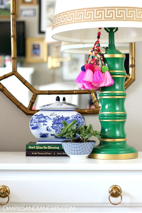 Kelly Green, Navy, and Pink Master Bedroom  ||  Green Lamps, Nightstand Styling  ||  Dimples and Tangles
