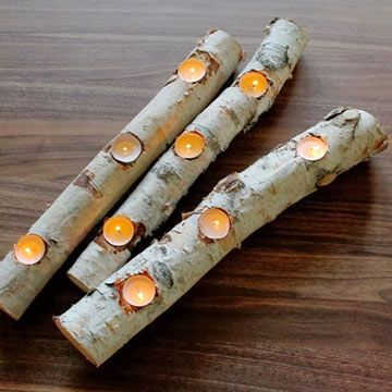 Best 25 log centerpieces ideas on pinterest wedding log for Log candles diy