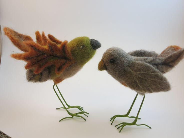 autumn birds - felt birds by Elaine Beechey