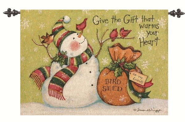 Snowman Christmas Tapestry Wallhanging with Rod Susan Winget Art
