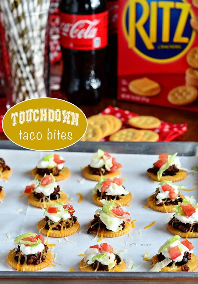 Touchdown Taco Bites perfect appetizer recipe for football Sunday!  at TidyMom.net
