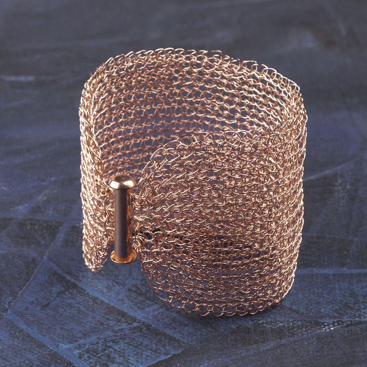 Rose Gold Cuff Bracelet , Wire crochet handmade jewelry, romantic , bridal jewelry |