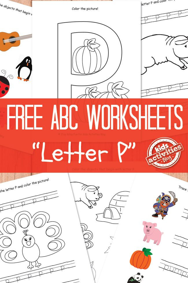 This FREE Letter P worksheet pack from Kids Activity Blog includes:  	4 pages of upper and lower case tracing with pictures