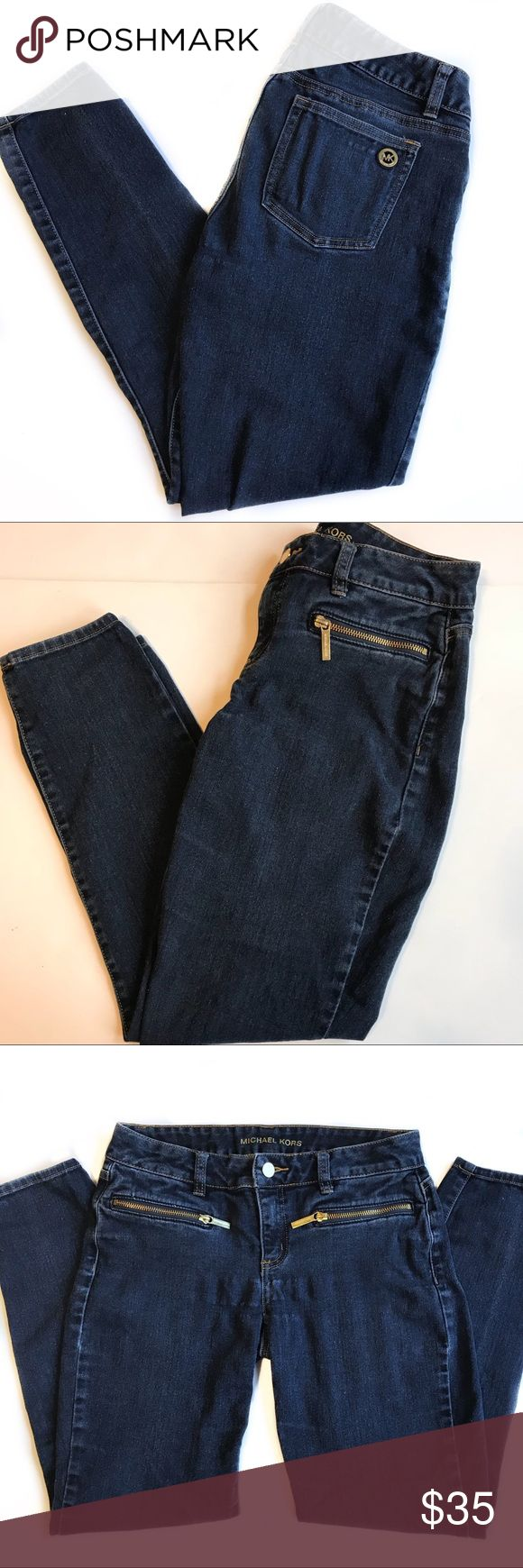 """MICHAEL KORS INDIGO BASICS DENIM SKINNY JEANS Authentic MICHAEL Michael Kors Women's Skinny Stretch Denim Jeans Color: Overdyed Indigo  Size: 2 Style #: QF59A6R042 MSRP: $130  Zip fly w/ a gold-tone button closure Belt loops Stretch skinny legs 2 front pockets w/ gold-tone zipper closure 2 back pockets. Gold-tone MK logo medallion on the back right pocket 76% cotton, 23% polyester, 1% elastane. Dimensions taken while laying flat. Waist, Hips & Leg Opening are doubled.Waist 28"""" Hips 34""""…"""