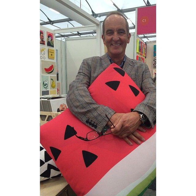 Jennifer + Smith Cushion Selfie with Kevin McLeod from Grand Designs!!   Watermelon Print Outdoor Cushion www.jenniferandsmith.com