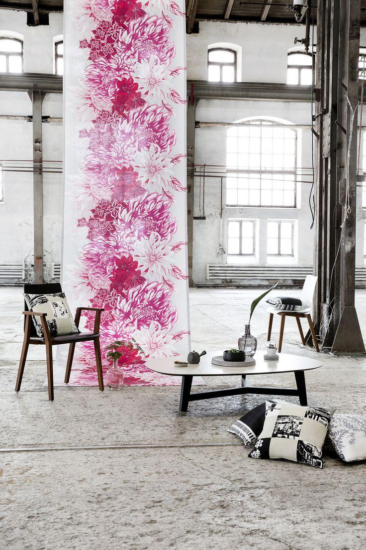 Ikebana curtain and Tokyo cushion by Matleena Issakainen