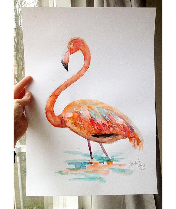 Flamingo Aquarel schilderij  Origineel A3 formaat  door Zendrawing