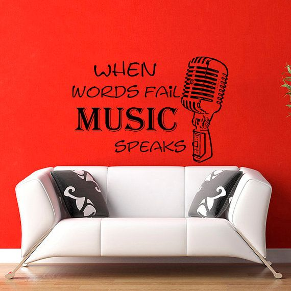 Wall Decal When Worlds fail Music Speaks Microphone by CozyDecal, $27.99