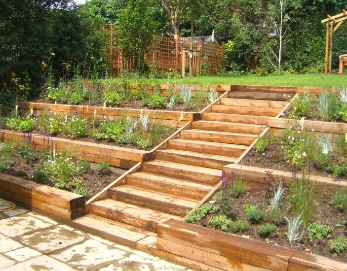 This terraced garden, designed by Julian Tatlock Garden Design, made use of natural slopes to create a beautiful set of terraced plant beds.