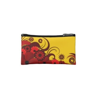 Red Tropical Hibiscus Floral Small Cosmetic Bag by sunnymars  View more Red floral cosmetics Bagettes Bags    This fully customizable, cute, colorful cool trendy fashion summer custom small makeup case or cosmetics bag features an elegant illustration of a dark red, burgundy, maroon, ruby or crimson swirly tropical hibiscus floral decoration against a yellow background which can be changed to the color of your choice.