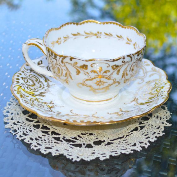 Antique Victorian Tea Cup and Saucer - Lace Effect Pattern in Gold on White Bone China - Brown-Westhead, Moore & Co . Queens Victoria