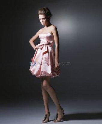 Rose tendre sans bretelle ceinture robe de princesse courte taffeta robe demoiselle d'honneur