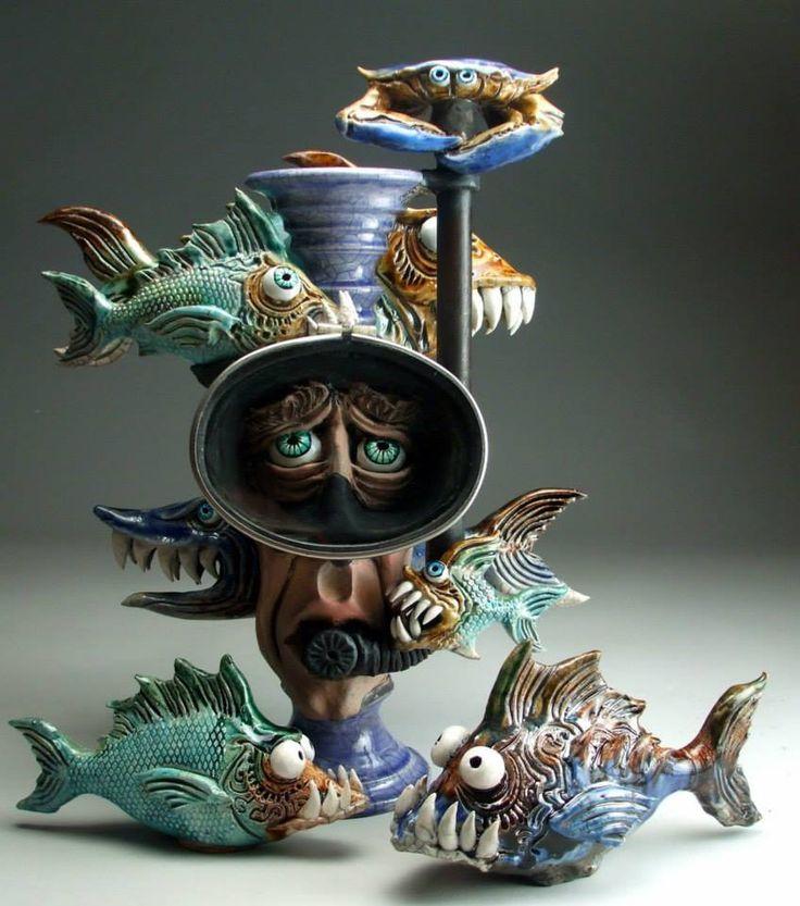 Forbidding aquatic ceramic creations