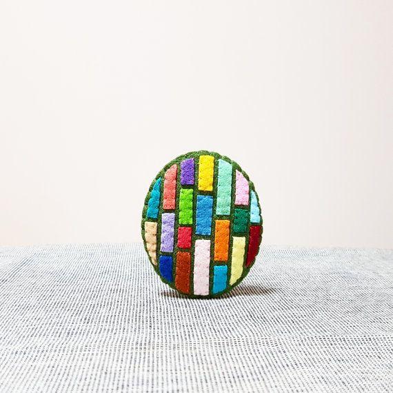 Modern Style Brooch. Minimal Design. Hand by NariDesignPot on Etsy
